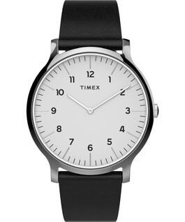 Norway 40mm Leather Strap Watch Silver-Tone/Black/White large