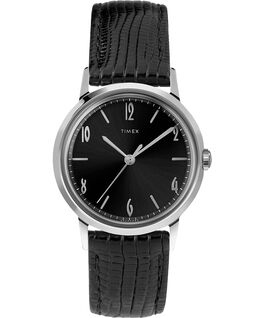 Marlin® 34mm Hand-Wound Leather Strap Watch Black/Black/Silver-Tone large
