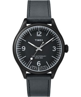 Waterbury Traditional 38mm Leather Strap Watch Black large