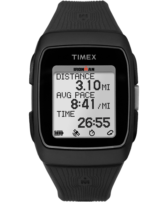 IRONMAN GPS 38mm Silicone Strap Watch Black/Gray large