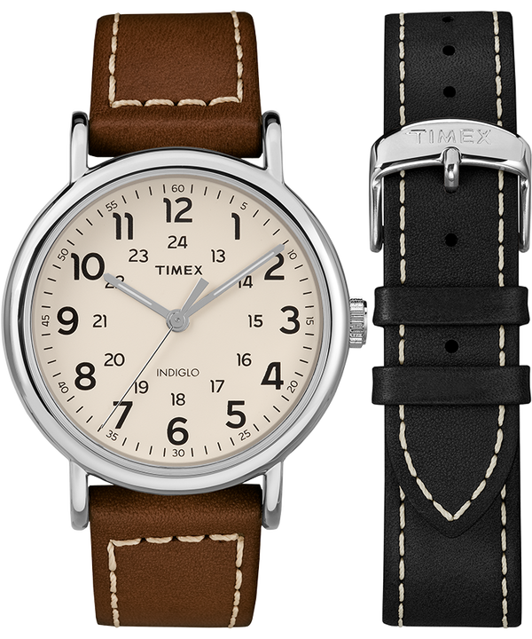 Weekender 40mm 2 Piece Leather Strap Watch Gift Set  large