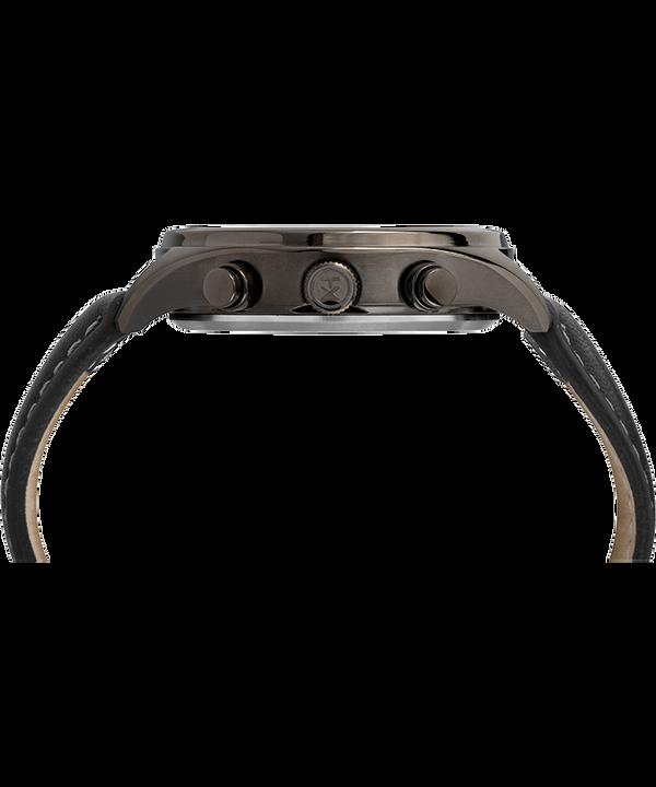 Waterbury Traditional Chronograph 42mm Leather Strap Watch Gunmetal/Black large