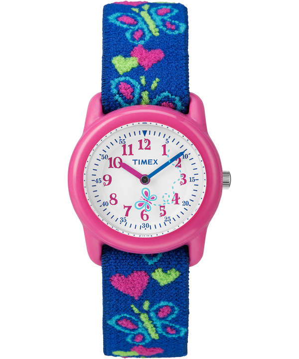 Kids Analog 29mm Elastic Fabric Strap Watch Pink/Blue/White (large)