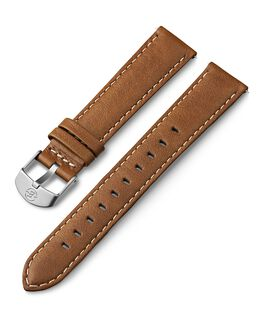 18mm Leather with White Stitching Strap Tan large