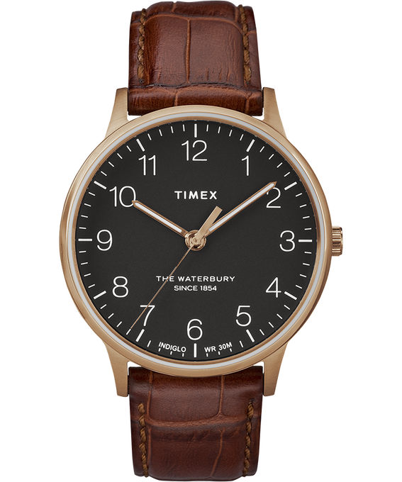 Waterbury 40mm Classic Leather Strap Watch Rose-Gold-Tone/Brown/Black large