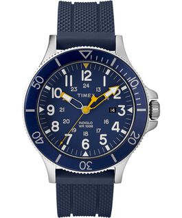 Allied Coastline 43mm Silicone Strap Watch Silver-Tone/Blue large