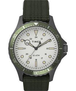 Navi XL 41mm Fabric Slip Thru Strap Watch Gunmetal/Green/White large