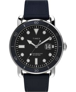 Port 42mm Leather Strap Watch Stainless-Steel/Blue/Black large
