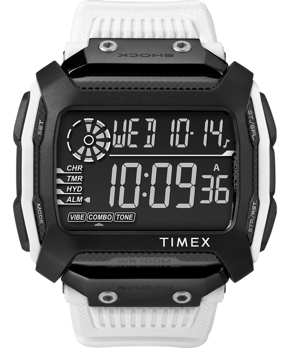 Command Shock 54mm Resin Strap Watch White/Black large