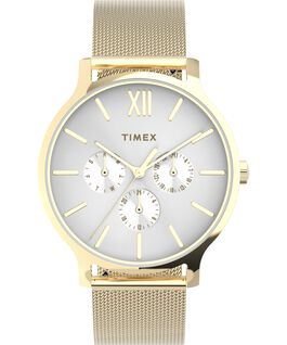 Transcend Multifunction 38mm Stainless Steel Mesh Band Watch Gold-Tone/White large