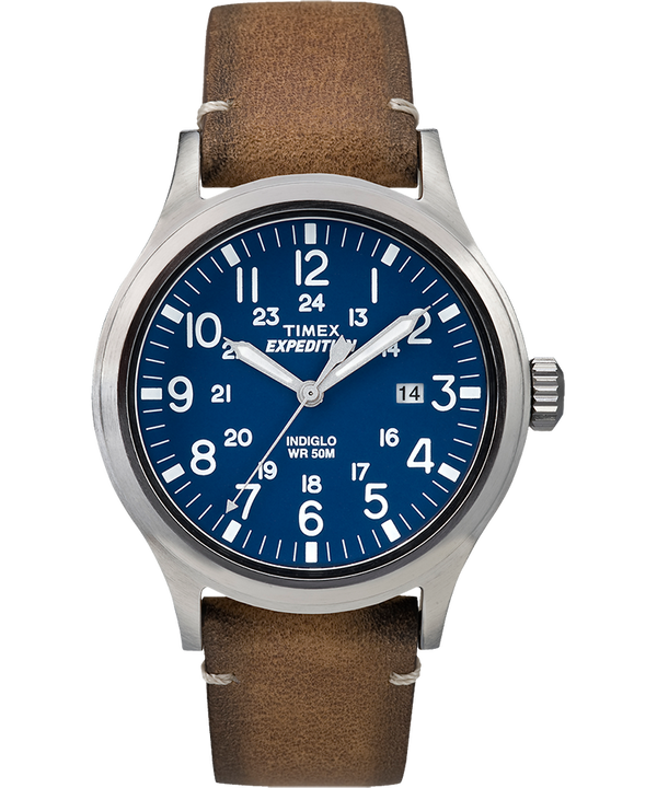 Expedition Scout 40mm Leather Strap Watch Silver-Tone/Tan/Blue large