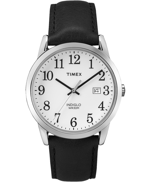 Easy Reader 38mm Leather Strap Watch Black/White large