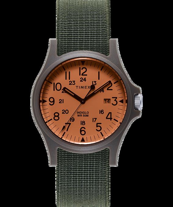Acadia 40mm Elastic Fabric Strap Watch Black/Green/Orange large