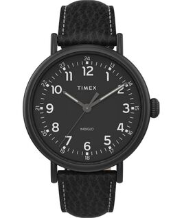 Timex Standard XL 43mm Leather Strap Watch Black large