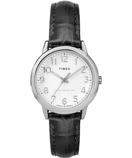 Easy Reader 30mm Leather Strap Watch Chrome/Black/White large
