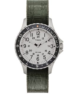 Navi Ocean 38mm Reversible Fabric Strap Watch Stainless-Steel/Green/Blue large
