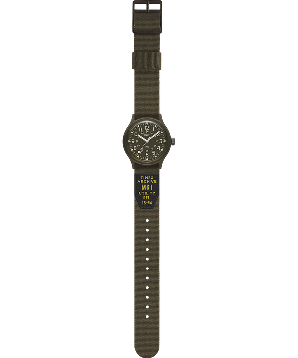 MK1 Military 36mm Grosgrain Strap Watch Black/Green large