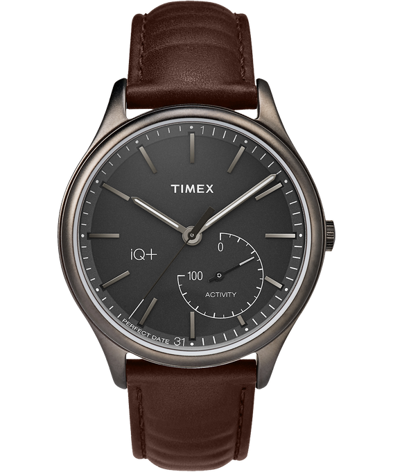iQ+ Move 41mm Leather Watch Gray/Brown/Black large