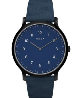 Norway 40mm Leather Strap Watch Black/Blue large