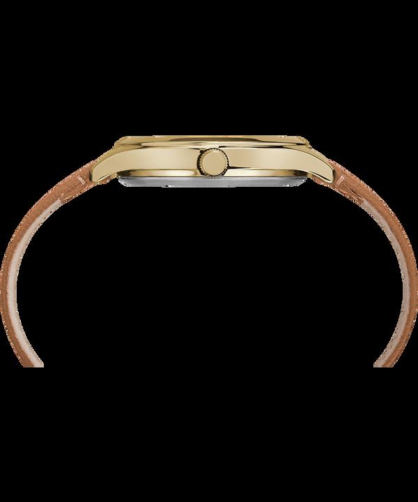 Peyton 36mm Leather Strap Watch Gold-Tone/Brown/Silver-Tone large