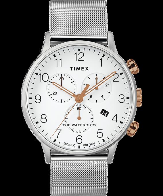 Waterbury 40mm Classic Chrono Mesh Bracelet Watch Stainless-Steel/White large