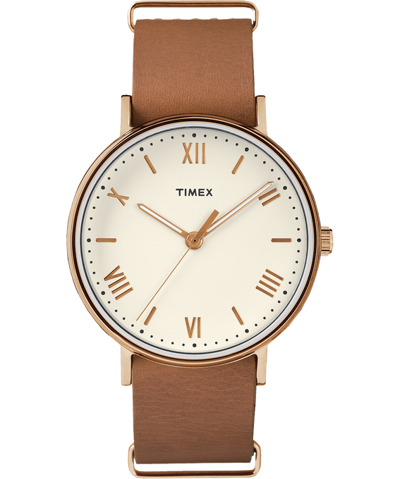 Southview 41mm Leather Watch Rose-Gold-Tone/Tan/Cream large