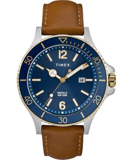 Harborside 42mm Leather Strap Watch Chrome/Tan/Blue large