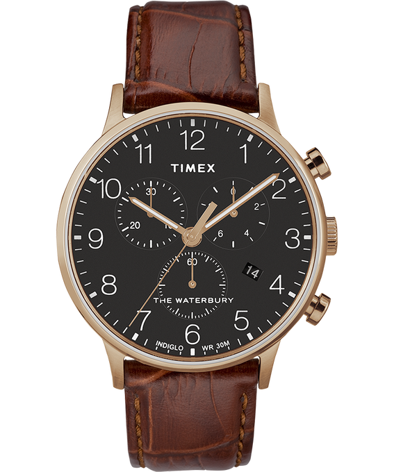 Waterbury 40mm Classic Chrono Leather Strap Watch Rose-Gold-Tone/Brown/Black large