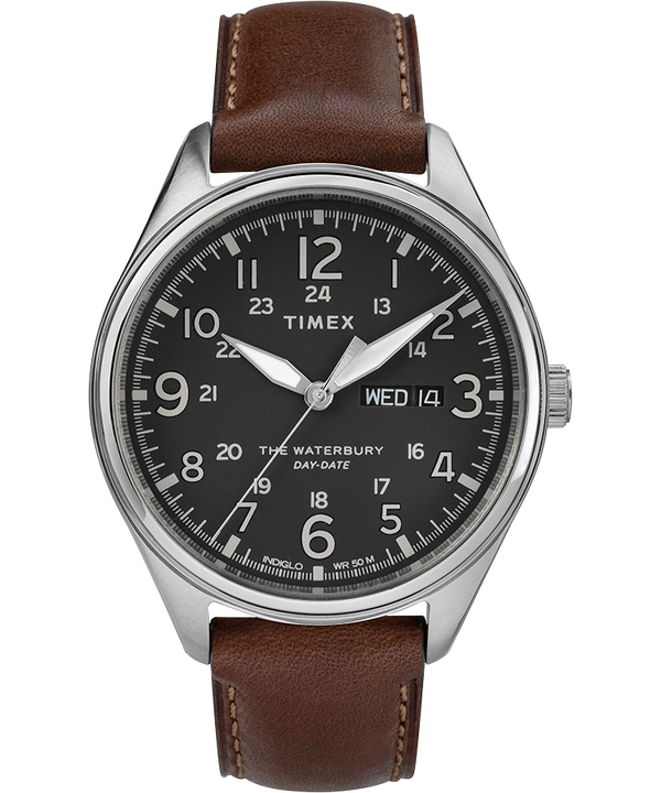 Waterbury Traditional Day Date 42mm Leather Strap Watch  large