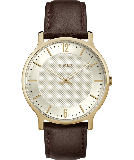 Metropolitan Mens 40mm Leather Watch Gold-Tone/Brown/Silver-Tone large