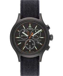 Allied Chronograph 42mm Stonewashed Denim Strap Watch Black large