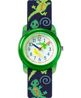 Kids Analog 29mm Elastic Fabric Strap Watch Green/Blue/White large