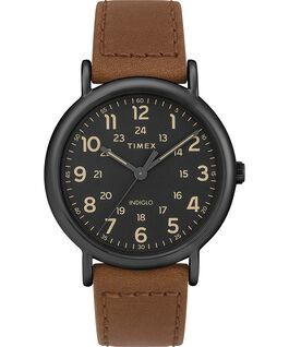 Weekender 2 Piece 40mm Leather Watch Black/Brown large