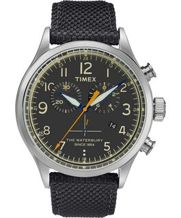 Waterbury Traditional Chronograph Contactless 42mm Leather Strap Watch Black large