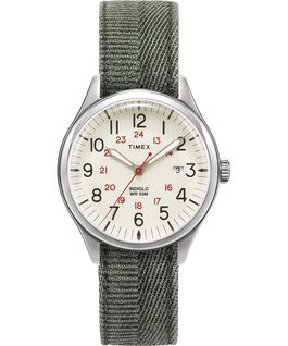 Waterbury United 38mm Stonewashed Fabric Strap Watch Silver-Tone/Green/Natural large
