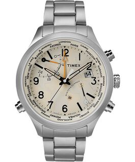 Waterbury World Time 43mm Stainless Steel Watch Stainless-Steel/Cream large