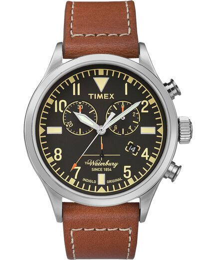 879a52ae0 Waterbury Traditional Chronograph 42mm Leather Strap Watch  Stainless-Steel/Brown/Black large