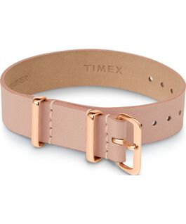 16mm Leather Single Layer Slip Thru Strap with Rose Gold Tone Tan large