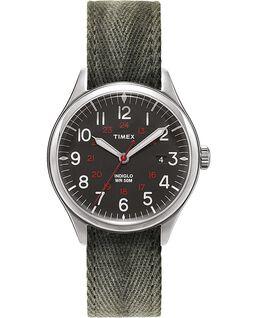 Waterbury United 38mm Fabric Strap Watch Black/Green large