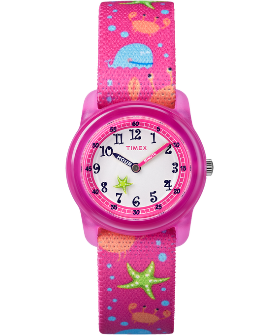 Kids Analog 29mm Elastic Patterned Fabric Watch Pink/White large