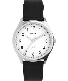 Modern Easy Reader 32mm Leather Strap Watch Silver-Tone/Black/White large