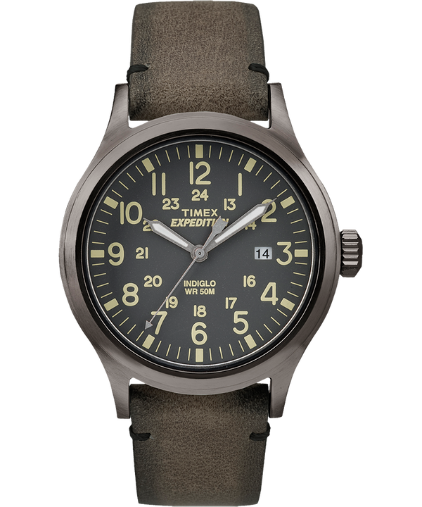 Expedition Scout 40mm Leather Strap Watch Gray/Brown large