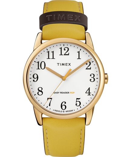 a67acf986c47 Easy Reader Color Pop 38mm Leather Strap Watch Gold-Tone Yellow Cream large