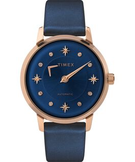 Celestial Opulence Automatic 38mm Textured Strap Watch Rose-Gold-Tone/Blue large