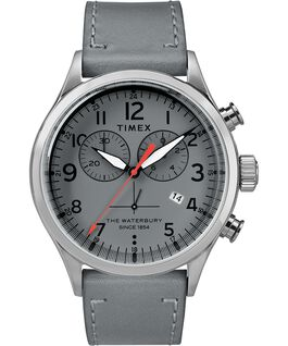 Chronograph Numbered Dial 42mm Leather Watch in Gray - Front View