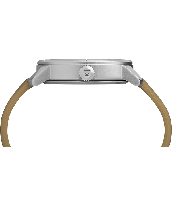 Mod44 44mm Leather Strap Watch Chrome/Tan/White large