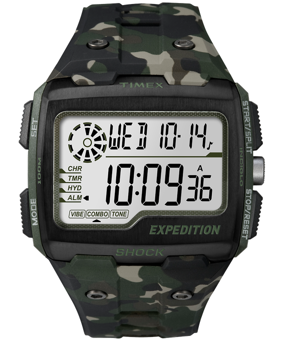 Expedition Grid Shock 50mm Resin Strap Watch Green/Camo/Black large