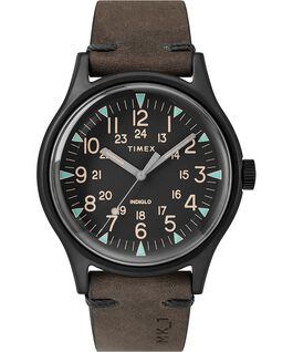 MK1 Steel 40mm Leather Strap Watch Black/Brown large