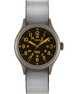 Allied 40mm Full Reflective and Reversible Fabric Strap Watch Gold-Tone/Black large