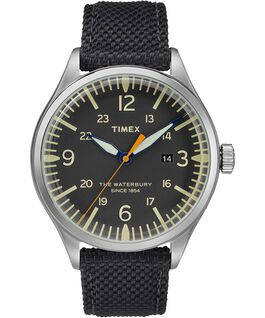 Waterbury Traditional Contactless 40mm Leather Strap Watch Black large